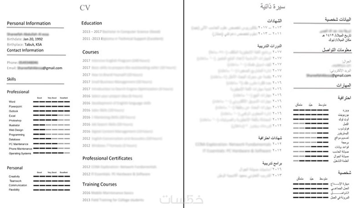 سيرة ذاتية انفوجرافيك عربي أو إنجليزي خمسات