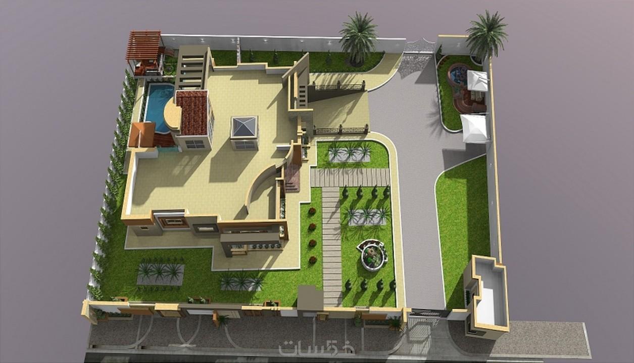 تصميم وتنسيق حدائق واحواض سباحة