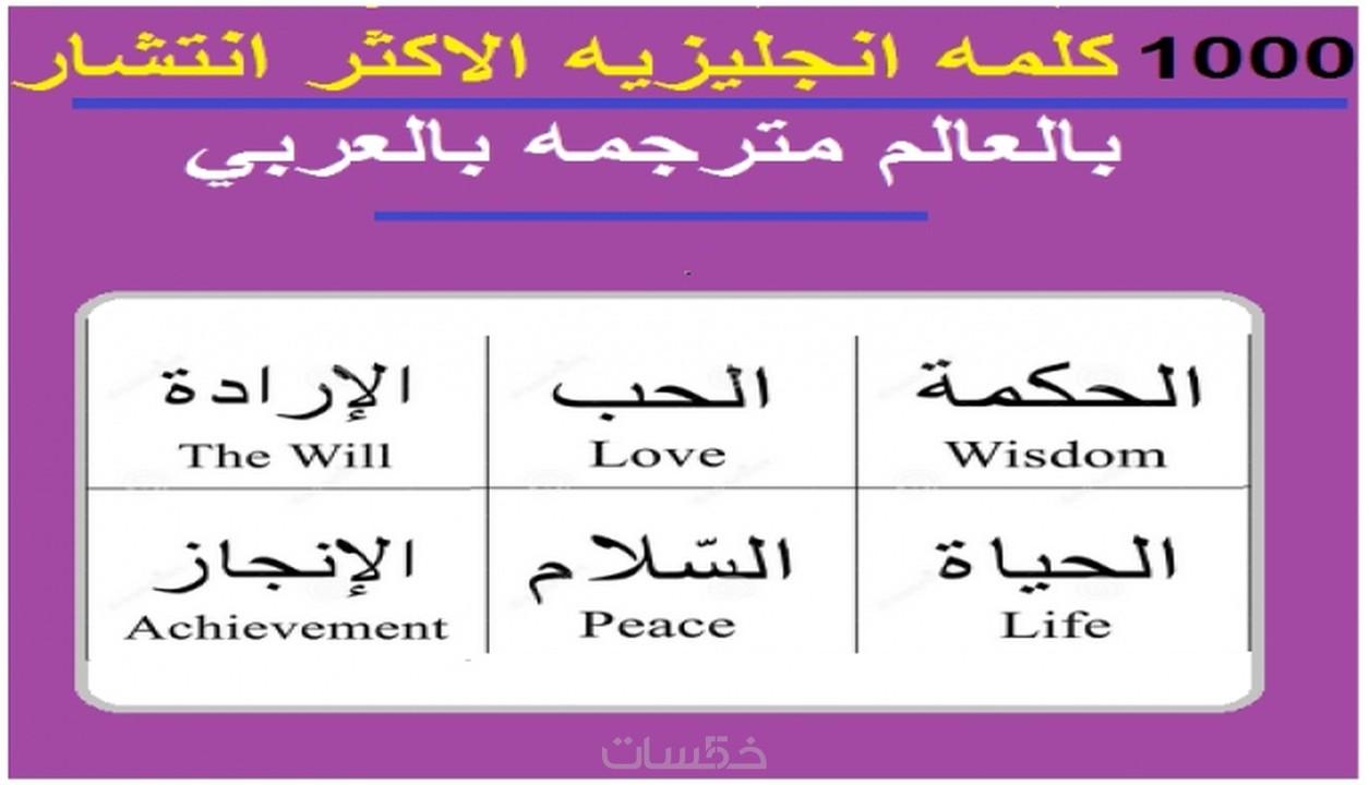 اعطيك ملف به 1000 كلمة وجمله بالانجليزي مترجمه بالعربي خمسات